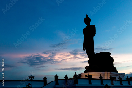 The Silhouette big Buddha with twilight sky