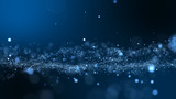 Dark blue and glow particle abstract background. - 164373509