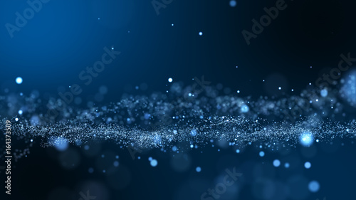 Poster Dark blue and glow particle abstract background.