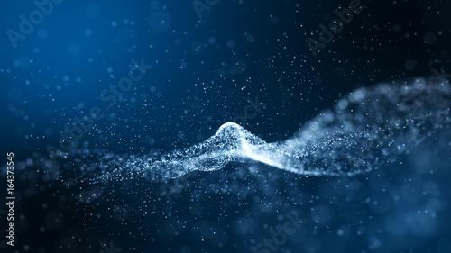 Ciemnoniebieski i blask cząstek abstrakcyjne tło.