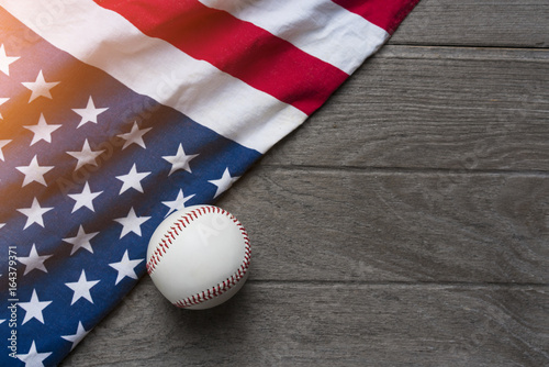 baseball with American flag in the background Poster
