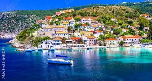 Amazing Greece series - beautiful colorful village Assos in Kefalonia