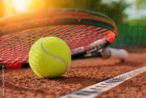 Plexiglas Tennis .tennis ball on a tennis court