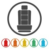 Car seat icons set - Vector Illustration