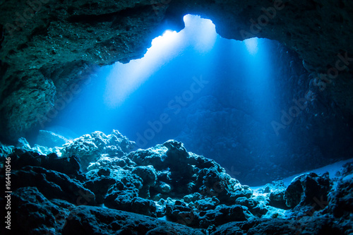 Sun Light into the Underwater Cave Poster