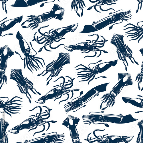 Fototapeta Squid seafood fishing vector seamless pattern