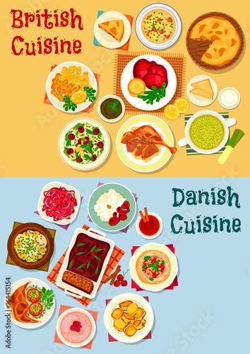 British and danish cuisine icon set design