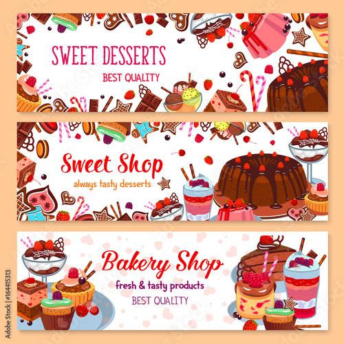 Bakery vector banners for sweet dessert shop