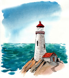 Watercolor lighthouse - 164416166