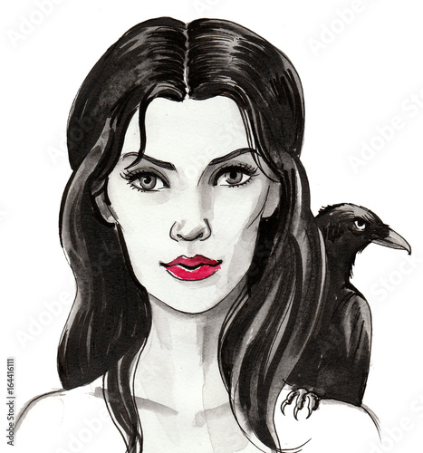 Girl with a raven - 164416111
