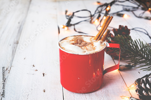 Spoed canvasdoek 2cm dik Chocolade Christmas background - Cup of hot chocolate on wood table with rustic decoration and Christmas lights. vintage color tone style.