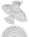 Decorative drawing of a bird and patterns, graphics, tattoo, sketch - 164423915