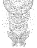 Mandala, butterfly and decorative patterns, tattoo, sketch - 164423927