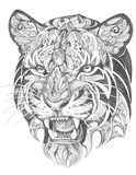 Tattoo, grinning graphics head of a tiger of black and white graphics - 164423946