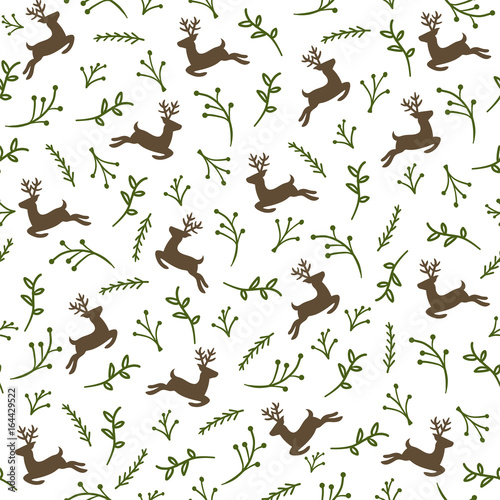 Cotton fabric Reindeer Seamless Pattern