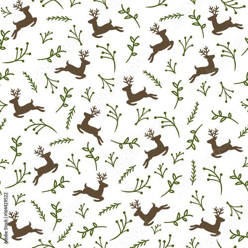 Cotton fabric Reindeer Seamless Pattern