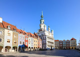Picturesque Old Market merchant houses and the Town Hall in Poznan, Poland