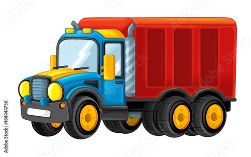 cartoon happy cargo truck with trailer - illustration for children - 164444756