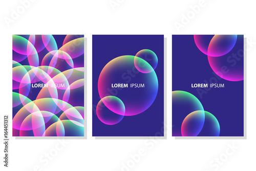 Set of vibrant colorful bubble shapes compositions. Futuristic design posters templates. Vector illustration.