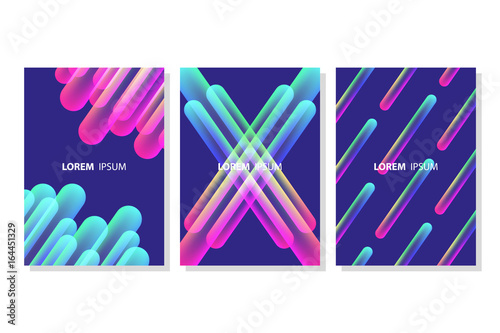 Set of vibrant colorful line shapes compositions. Futuristic design posters templates. Vector illustration.