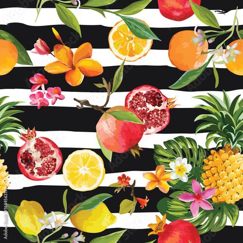 Seamless Tropical Fruits Pattern. Pomegranate, Lemon, Orange Flowers, Leaves and Fruits Background.