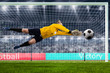 female goalie is jumping for the ball on crowded stadium