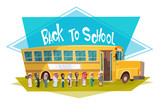 Arab Pupils Group Walking To Yellow Bus Riding Back To School Muslim Schoolchildren 1 September Flat Vector Illustration