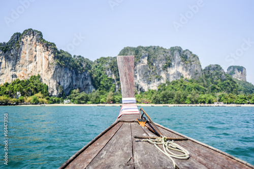 Long tail boat on Andaman sea floating on a water, view from a boat, Thailand Poster