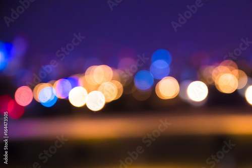 Defocused blur of city lights at night abstract   - 164473505