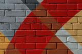 Ceglana ściana graffity, bardzo drobna detale. Streszczenie miejskich Street art Close-up, moda kolorów, stylowy wzór. Może być użyteczny dla tła i tła.