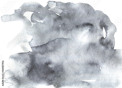 Painting gradient abstract background. Watercolor clouds, storm, sad mood. Hand drawn splash illustration - 164487956