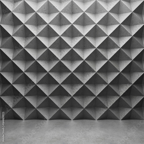 Fototapeta Polygonal concrete wall and glossy concrete floor. 3D rendering