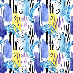 Geometric watercolor shapes and tropical leaves seamless pattern.