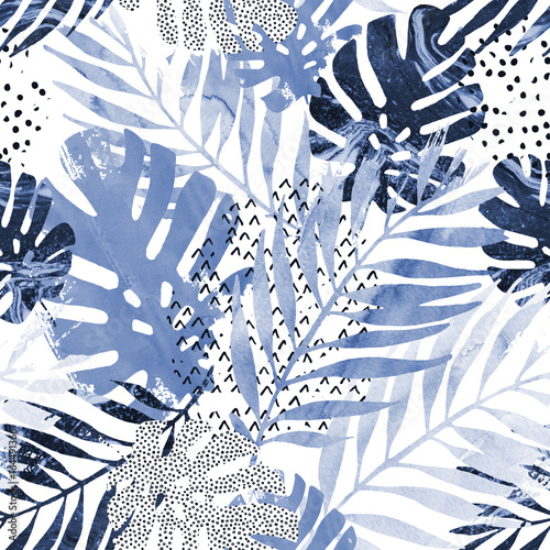 Art illustration: trendy tropical leaves filled with watercolor grunge marble texture, doodle elements background. - 164491366