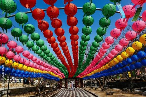 Fotobehang Seoel Colorful lanterns lining a walkway at a monastery in South Korea