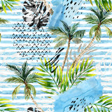 Abstract watercolor summer seamless pattern. - 164491978