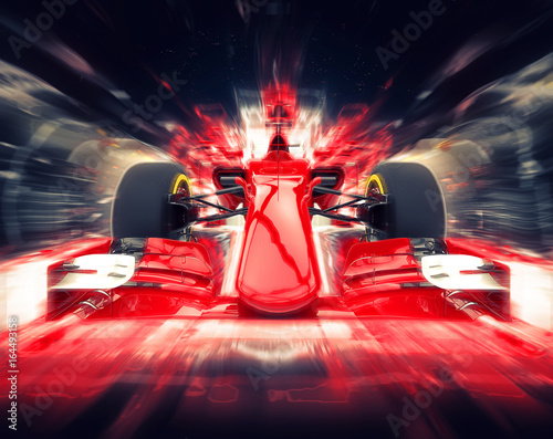 Fotobehang F1 Red formula one car - colorful super zoom effect