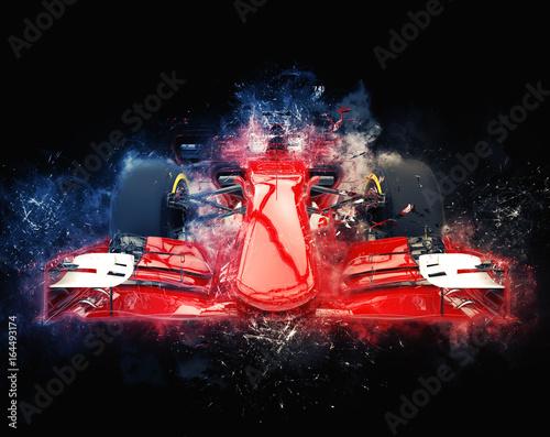 Fotobehang F1 Red formula one car - modern trash style illustration