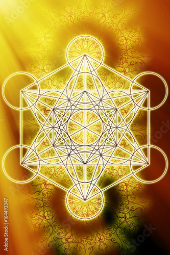 Merkaba and mandala on abstract color background. Sacred geometry. Sun light effect.