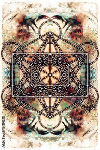 Merkaba on abstract color background. Sacred geometry.