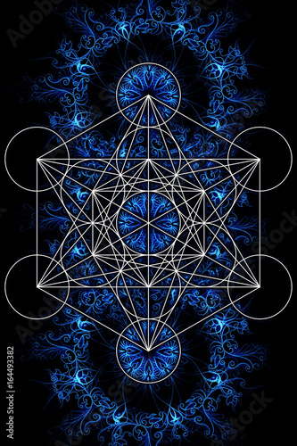 Merkaba and mandala on ablack background. Sacred geometry.