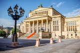 Viiew on the Gendarmenmarkt square with concert house building during the morning light in Berlin city