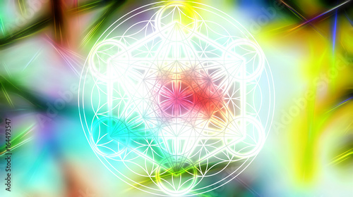 Light merkaba and Flower of life on abstract color background and fractal structure. Sacred geometry.