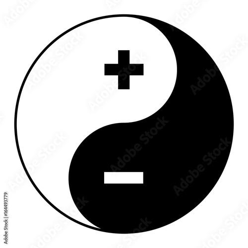 Yin yang symbol of harmony and balance plus minus