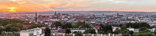 Foto op Aluminium Krakau Krakow panorama from Krakus Mound, Poland landscape during sunset.