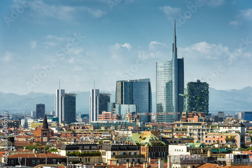 Aluminium Milan Milan skyline with modern skyscrapers