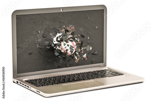 Baseball ball flying through broken monitor of laptop, 3D rendering