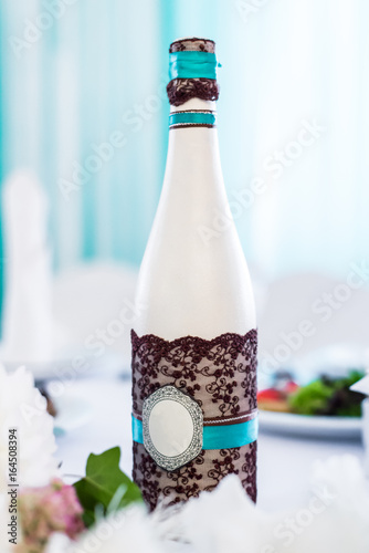 Decorated bottle of champagne