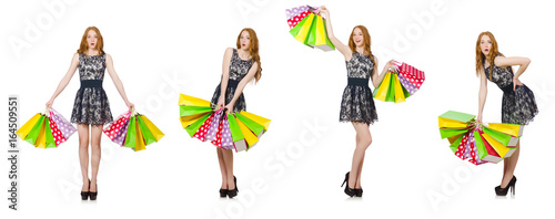 Woman with shopping bags isolated on white - 164509551