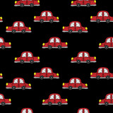 Seamless pattern with little red car embroidery stitches imitation
